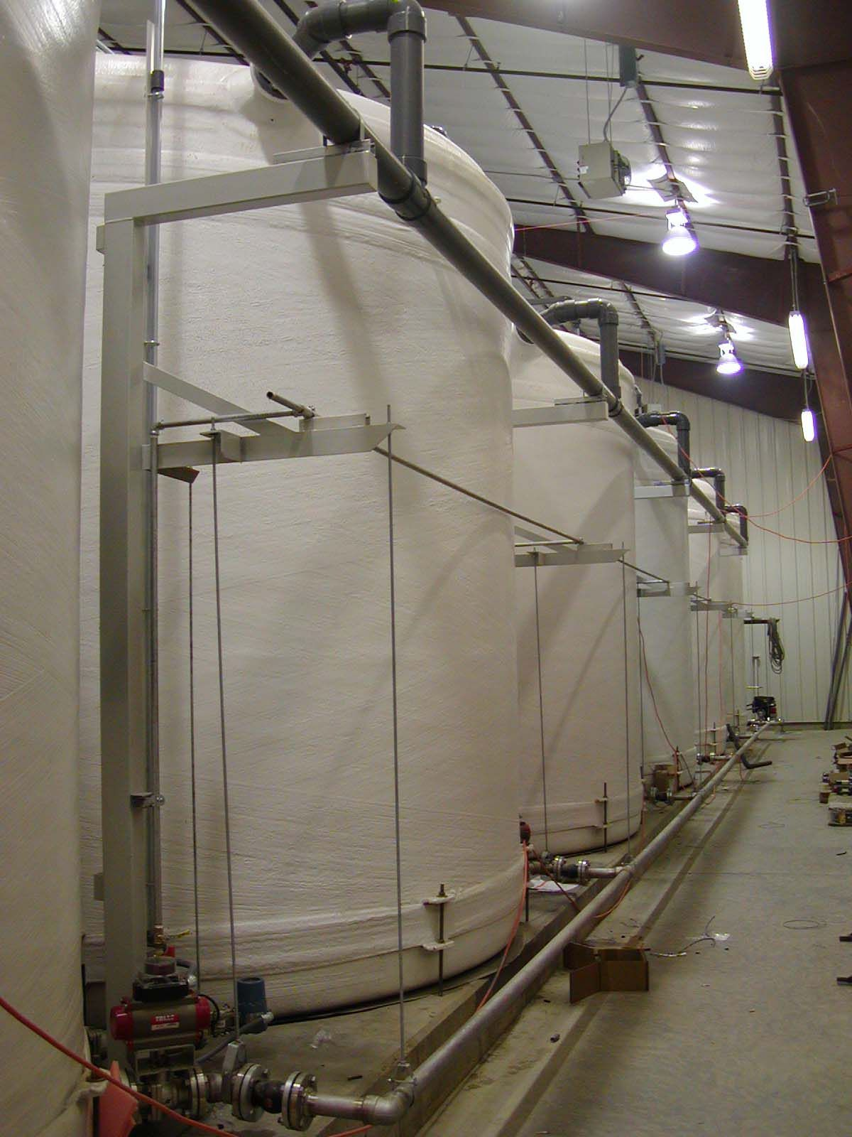 White Gel Coated Food Processing Chemical Storage Tanks